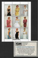 1997 Princess Diana Mini Sheet Complete MUH/MNH as Issued With Certificate