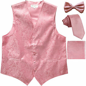 New Men's Paisley Tuxedo Vest Waistcoat & necktie & Bow tie & Hankie Pink formal
