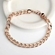 "18k Rose Gold Filled, 8mm Wide Chunky Curb Link Chain, 8"" Bracelet (13.5g)  B-28"