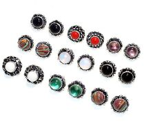 New Bulk Lot !! 10 PCs. Coral & Opalite .925 Sterling Silver Plated Stud Earring