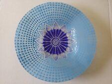 BLUE GLASS  PLATTER FLOWER 4 MID CENTURY DANISH MODERN PANTON 1970s BOWL SIGNED