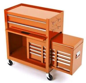 BikeTek Motorbike Motorcycle Garage Rolling Tool Cabinet With Top Chest Orange