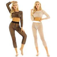 Women Fishnet Mesh Bikini Crop Top+ Long Pants Swimsuit Cover Up Swimwear Beach