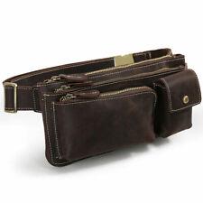 Vintage Leather Men Waist Fanny Bum Pack Shoulder Bag Travel Sling Backpack