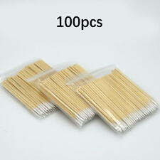 100x Microblading Tip Head Swab Eye Makeup Tattoo Wooden Cotton Stick Tool Art
