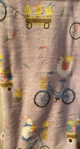 CELEBRATE EASTER BUNNIES BICYCLE CHICKS PLUSH THROW 50 X 60 NEW