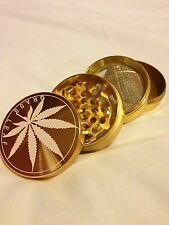 Grass Leaf Gold 4 Part Herb Grinder Metal Metal Pollinator Herb Crusher Rizla