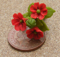 1:12th Handmade Red Poppy Style Dolls House Miniature Flower Garden Accessory