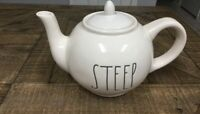 """Rae Dunn LL: """"STEEP"""" Large Letter Teapot New Artisan Contemporary Style"""