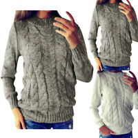 New Winter Women Solid O-Neck Long Sleeve Knitted Sweater Pullover Tops Blouse