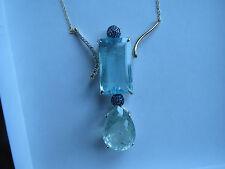 Estate blue green 72.85  carat Aquamarine, Sapphire & Diamond 14k gold necklace