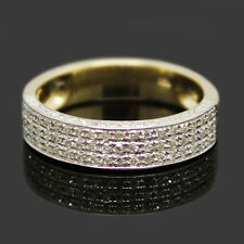 Solid 14K Yellow Gold 0.55CT Round Cut Diamond Wedding Band Ring