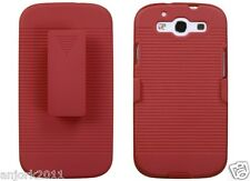 Samsung Galaxy S3 III Hard Case + Holster Combo w/ Swivel Stand Red