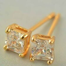 Vintage 9K Real Gold Filled Square Cubic Zirconia Stud Earrings For Women Girl