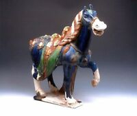 """*Ship From U.S* Chinese SanCai Hand Painted Crafted Large Standing War Horse 18"""""""