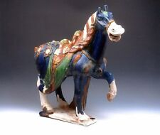 *Ship From U.S* Chinese SanCai Hand Painted Crafted Large Standing War Horse 18""