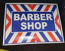 """Nice Barber Shop 12"""" x 16"""" Enamel Porcelain Sign Red White & Blue"""