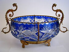 COBALT BLUE CUT CRYSTAL BOWL ORMOLU BRASS Bohemia Austro-Hungarian Empire c1900s