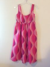 Wave Print Organza Sundress - SZ 0 - Hot Pink