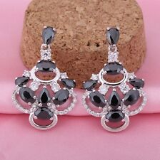Black White Cubic Zirconia 18K White Gold Plated Earrings Stud Dangle UK