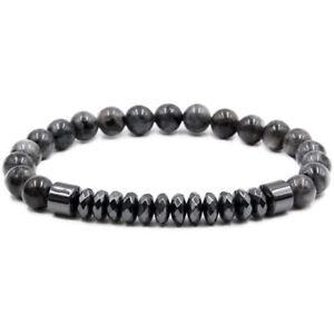Fashion Men Women Natural Stone Labradorite Beaded Bracelets Charm Jewelry