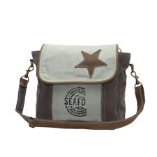 Star on Recycled Canvas Shoulder Bag Shades of Green Stenciled Front/Back Pocket