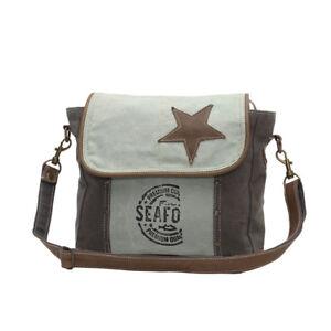 Star on Recycled Canvas Shoulder Bag Shades of Green Stenciled Front/Back Pocket