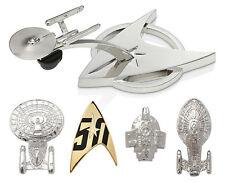 Star Trek Official 50th Anniversary Pin Set Starfleet Enterprise Defiant Voyager