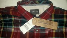 JACHS Plaid Shirt - NEW + Tags - Navy Blue, Red, Yellow Long Sleeve Mens Small