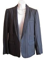 ESCADA Jacket Size 6 8 Blazer Navy Pinstripe Open Lined Germany Structured