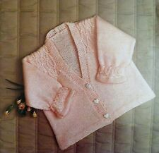 """Baby Clothes Matinee Coat Knitting Pattern Vintage 4 Ply/DK Smock 19-23""""   E8681"""