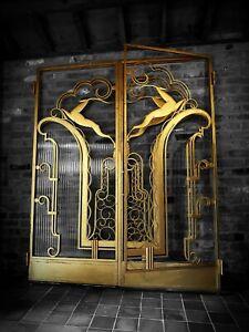 ORIGINAL ART DECO IRON DOORS, FER FORGE ANTELOPE/ACTEON - EDGAR BRANDT, RUHLMANN