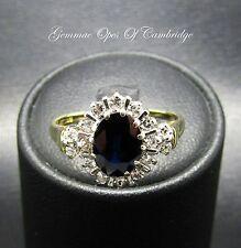 18ct oro 0.4ct Diamante Zafiro Cluster Anillo Tamaño y 1.13ct o 3g