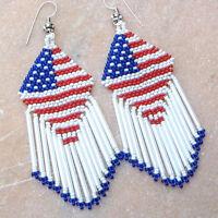 AMERICAN PATRIOTIC  RED BLUE WHITE FLAG BEADED HANDMADE LONG EARRINGS E15/57