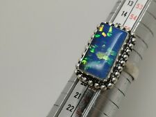 Gorgeous Sterling Silver Opal Amethyst  Art Design Ring size P 1/2 US size 8 1/2