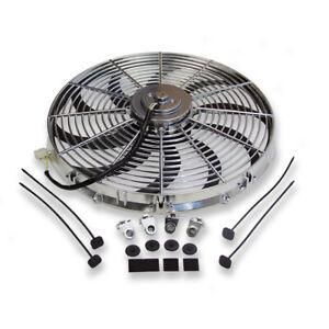 "Chrome 16"" Electric Radiator Reversible Cooling Fan Curved Blade 3000 CFM 12V"