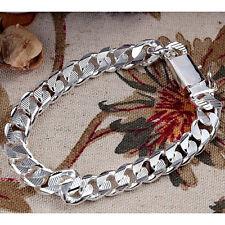 European Cool 925Sterling Silver 10MM Square Agraffe Men Chain Bracelet YH032