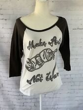 OBEY Vintage Make Art Not War Womens Small Baseball Raglan T Shirt White Gray