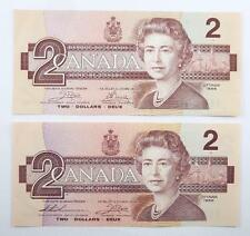 2 Bank of Canada 1986 Series $2.00 / Two Dollars Banknotes - EF to AU
