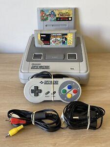 Super Nintendo Console Snsp-001 , Genuine Controller , Cords And 2 Mario Games