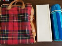 Vintage Thermos Plaid Lunch Bag ~ Blue Thermos Bottle & Sandwich Container