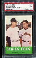 1963 Topps Baseball #331 SERIES FOES STAFFORD/PIERCE PSA 7 NM