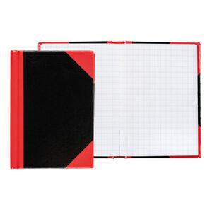 Idena Kladde, DIN A7, 96 Seiten, 70 g/m², kariert, Hardcover, rot/schwarz 10098