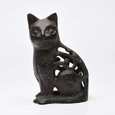 Cast Iron Feng Shui Sitting Cat Statue Hollow Sculpture Animal Crafts Modeling -