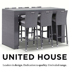 Grey Outdoor Wicker 6 Seater Bar Table Stools Garden Patio Pool Deck Furniture