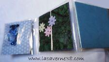 Lot de 3 cartes et enveloppes à décorer 10x10 cm camaïeu de bleu scrapbooking