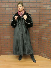 ladies SHOWROOM NEW! real BLACK RANCH MINK & SILVER MINK FUR COAT! MD- TALL LADY