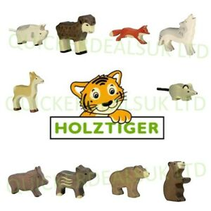 Holztiger Handmade Collectable Painted Wooden Farm & Forest Animal Toy Figurines