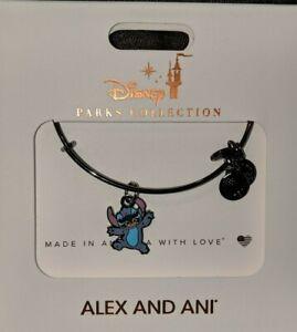 Disney Parks Alex and Ani Stitch Silhouette Bracelet Dark Silver New