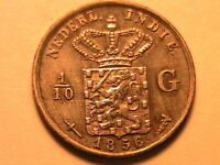 1856 Netherlands Indies 1/10 Gulden Ch XF Original Colorful Toned Silver Coin
